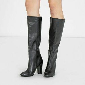 Shoes - Italian Leather Knee High Boots Chunky Heel